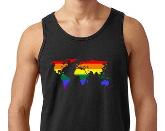 World Map Rainbow Pride Men's Cotton Trendy Printed Tank Top Sleeveless Tee