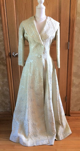 Stunning Vintage Long Silver and Cream Coat Gown