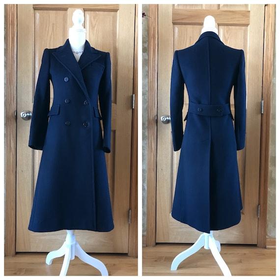 Vintage Navy Long Winter Wool Princess Coat / Long