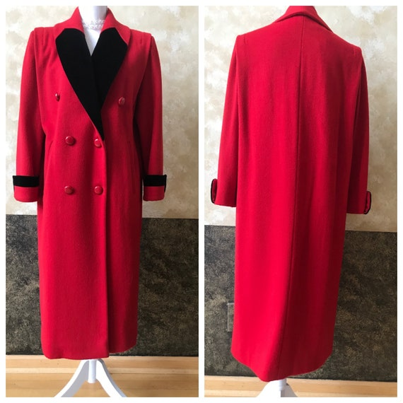 Stunning Vintage 1980's /90's Long Red Wool Leslie