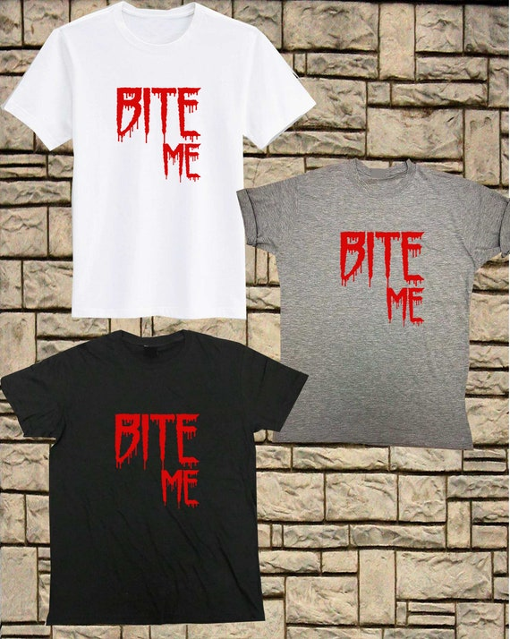 29608325 Bite Me Shirt Halloween T Shirt Vampire Teeth Funny Halloween | Etsy