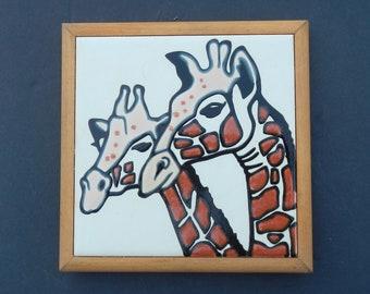 Cute Hand Painted Giraffe Framed Tile!