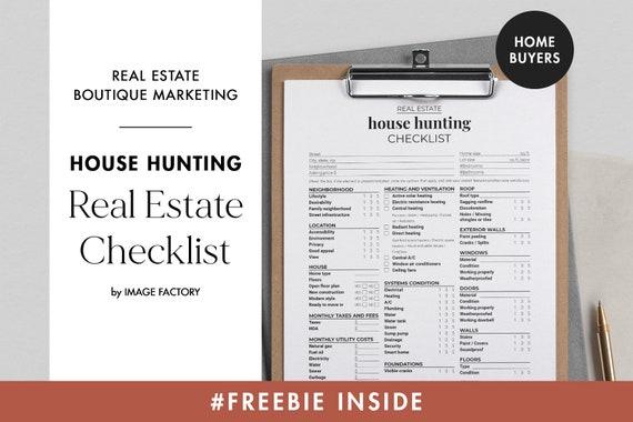 Printable House Hunting Checklist Real Estate Marketing Etsy