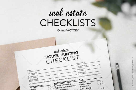 Printable House Hunting Checklist Home Buyer Guide Buyer Planner Realtor Lead Magnet Template