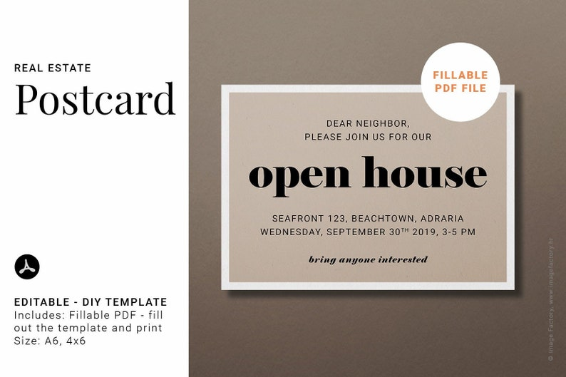 Real Estate Instant Download Postcard Template Open House Neighbor Invitation Minimalist