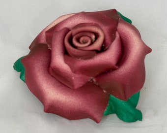 Leather Rose Hair Clip