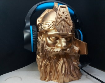 Fantasy Dwarf Headphone Stand! Headset Hanger Rack, Like Gnome, Lord Elf/Troll/Orc Holder Stands. Game/Hip Hop/ Recording Music PC Gaming!