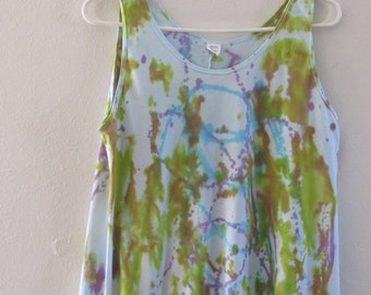 Yellow Tie Dye Tee Size Medium Spring Shirt for Women Colorful Hand Painted Tunic