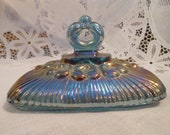Vintage Indiana Carnival Glass Harvest Blue Iridescent Candy Dish COVER ONLY