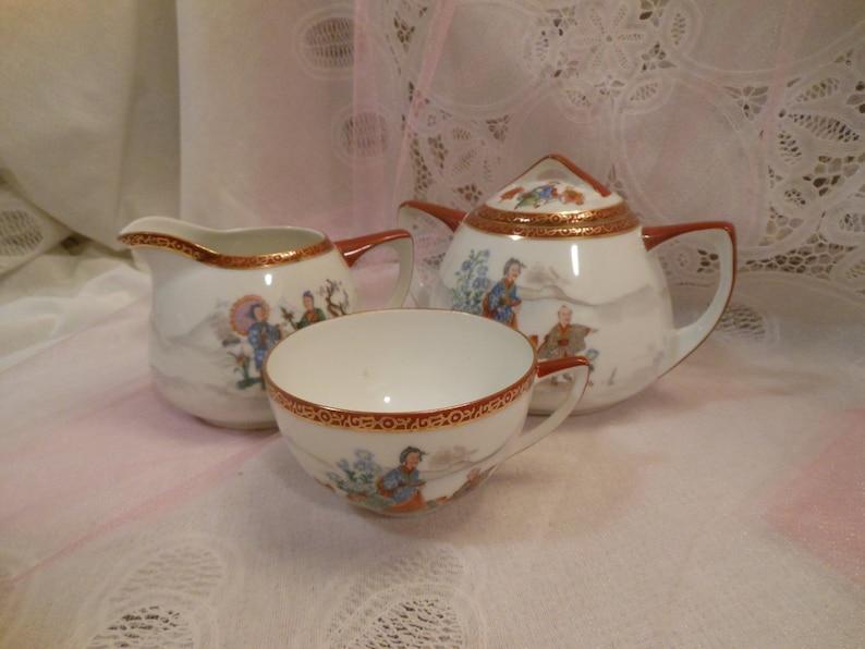 Rare Absolutely Beautiful Antique Union T Czecho-Slovakia Oriental Porcelain China Sugar Creamer Cup Set #943 #2158