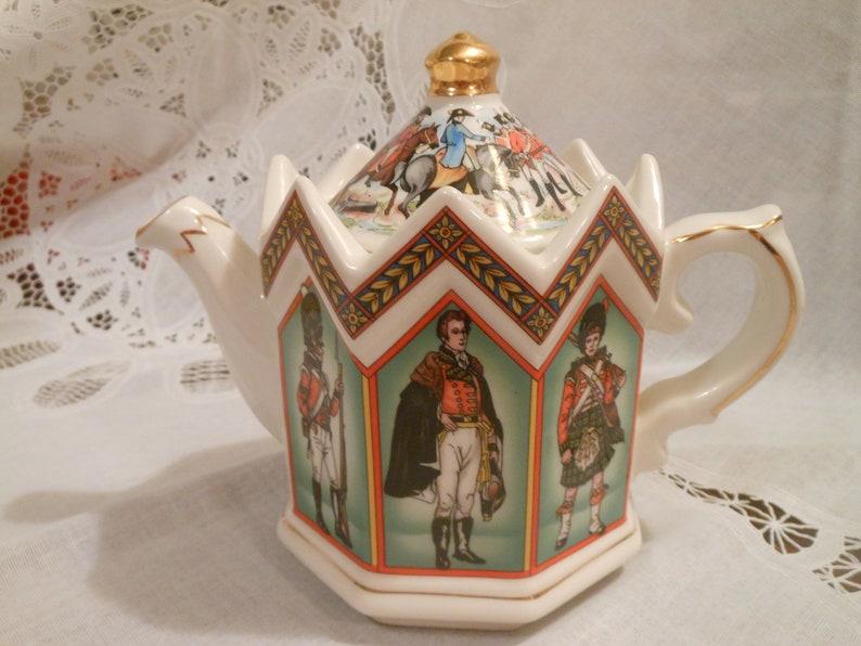 Vintage Sadler Battle of Waterloo 1815 Teapot Castle Shape Ornate Soldiers in Stained Glass Windows Octagon The Duke of Wellington #4441