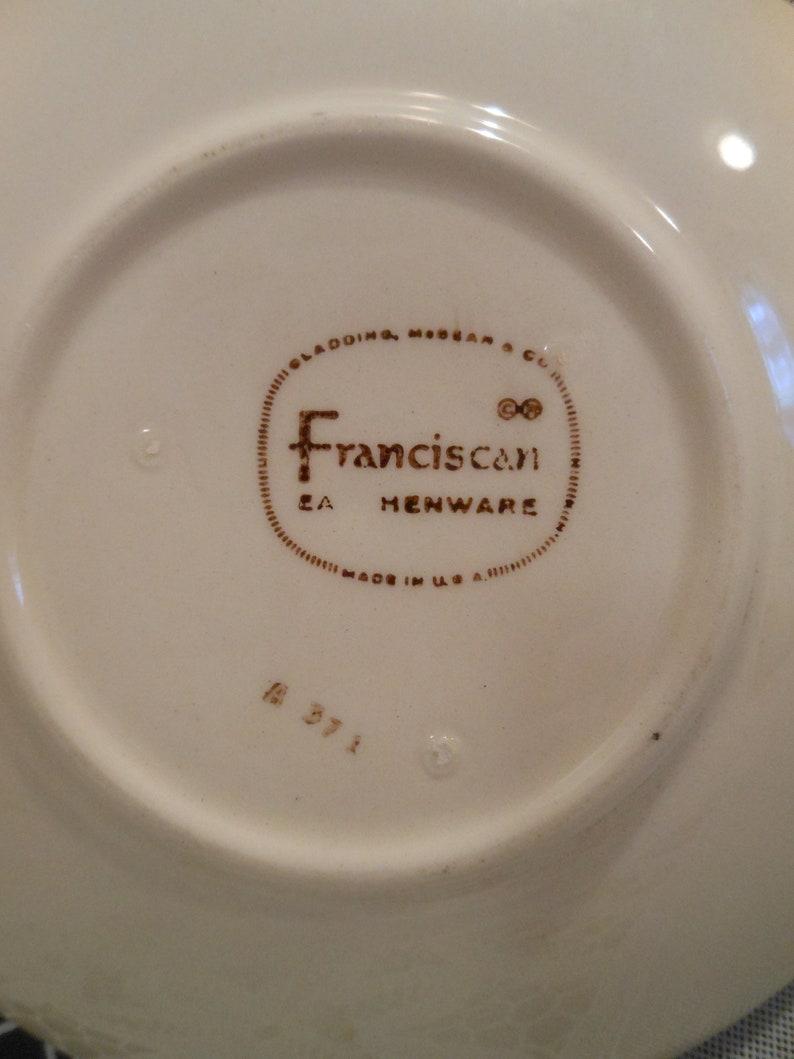 Beautiful Vintage c1958 Franciscan Desert Rose Cup Saucer U.S.A Pink Rose Brown Trim Brown Backstamp