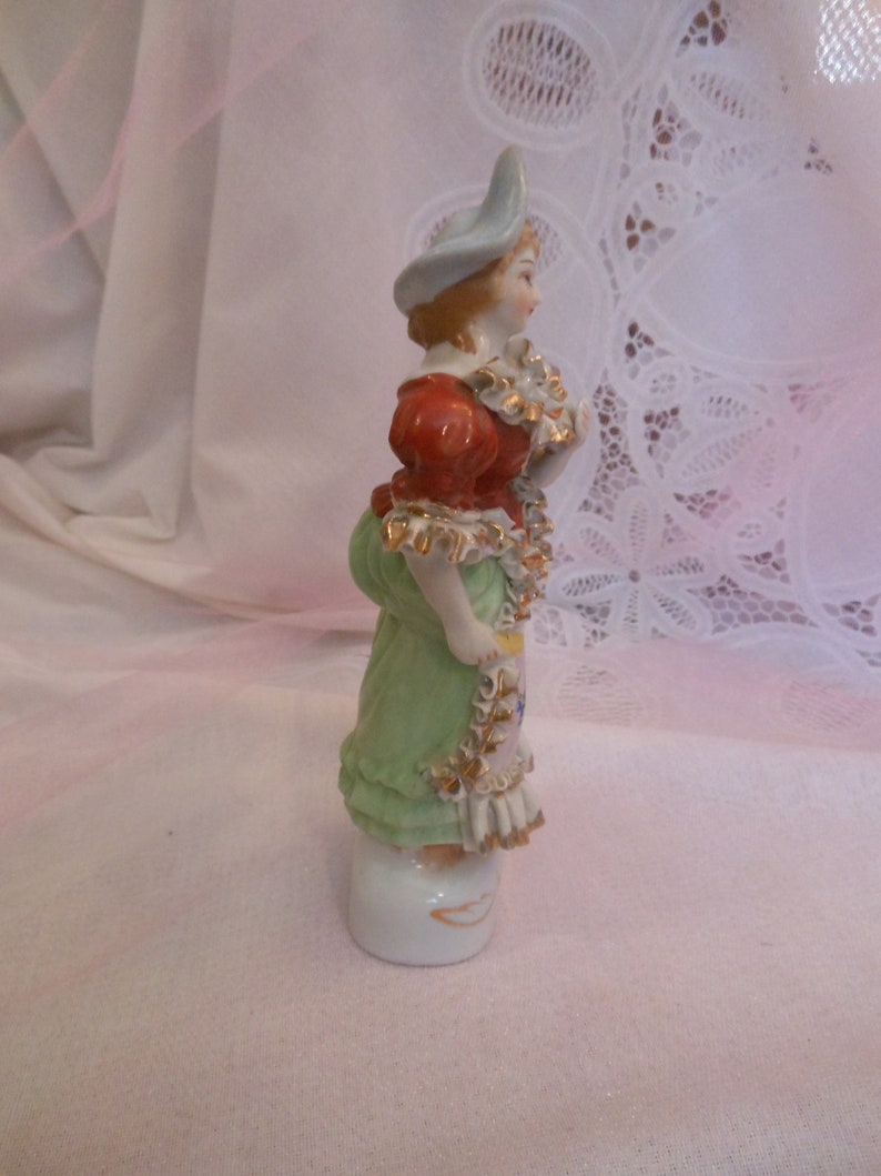 Vintage Colorful Bone China Victorian Colonial Woman Figurine w Dresden Lace /& Blue Hat