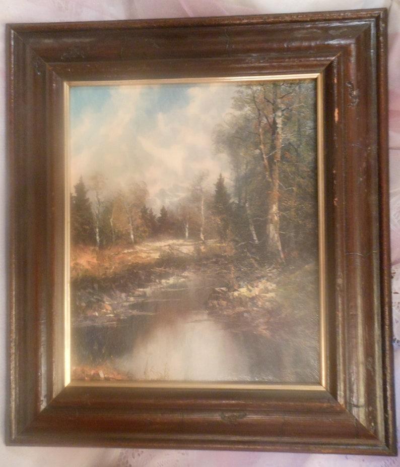 1bd2366d39751 Vintage Wood Framed Richard Lorenz Sylvan Solitude Picture