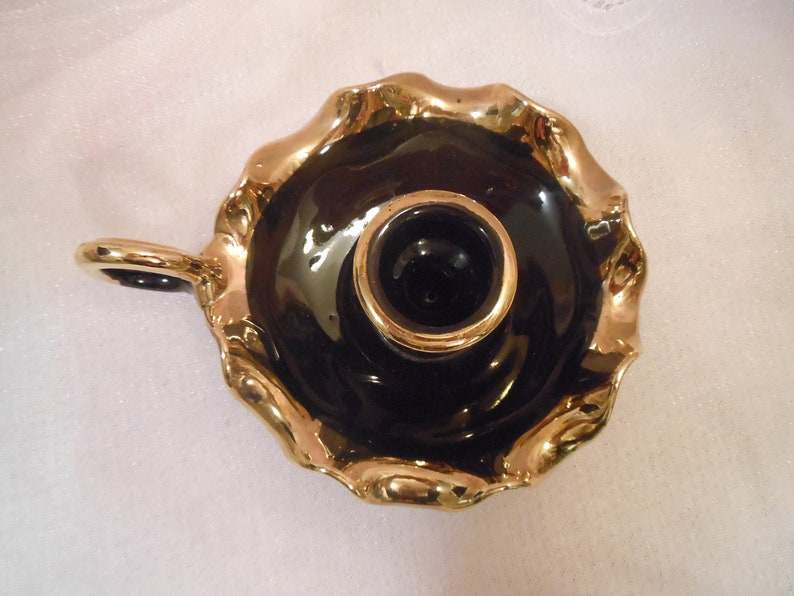 Exquisite Vintage Fluted Edge Black and Gold Chamber Candlestick Holder