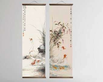 Japanese Scroll Painting Traditional Countryside Art, Canvas Wall Hanging Scrolls, Animal Wall Art, Wall Decor, Wall Scroll Art