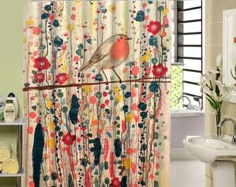 Bird Shower Curtain Colorful Watercolor Floral Flowers Bath Decor