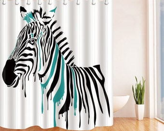 Zebra Shower Curtain Colorful Print Curtains Bathroom With 12 Hooks Animal Bath Decor