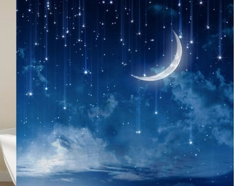 Moon And Stars Shower Curtain With Hooks Waterproof Bath
