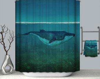 Whale Shower Curtain Bathroom Polyester Waterproof Kids Hooks Curtains