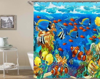 Clown Fish Shower Curtain Sealife Kids Sea Life Ocean Curtains Waterproof Washable For Bathroom Decor