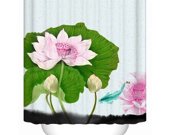 Lotus Shower Curtain Flower Curtains Bathroom For Home Decoration