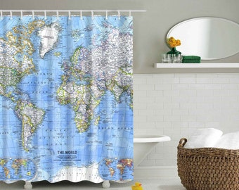 World Map Shower Curtain Fabric Set For Bathroom