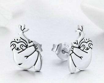 ec25a388b Sloth Earrings 925 Sterling Silver Cute Sloth Stud Earrings Silver Animal  Jewelry