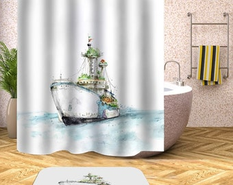 Boat Shower Curtain Navy Nautical Curtains Waterproof Ocean Ship Bathroom