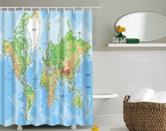 World Map Shower Curtain Of The Curtains High Quality Eco Friendly