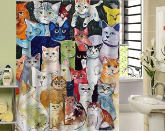 Cats Shower Curtain Waterproof Cat Curtains