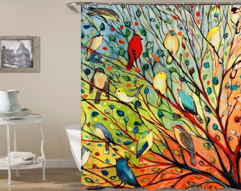Tree With Birds Shower Curtain On A Colorful Bathroom Waterproof Curtains