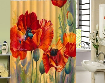 Poppy Shower Curtain Poppies Bath Decor Red Flowers Curtains