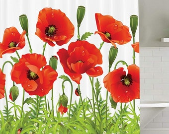 Poppy Shower Curtain Flowers And Ladybug Curtains