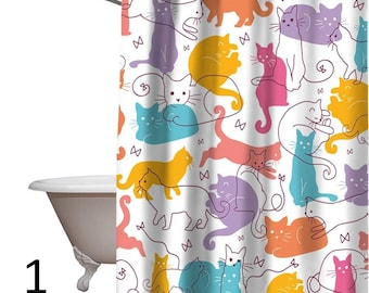 Cat Shower Curtain Lovely Cartoon Custom Design Eco Friendly Durable Hotel Waterproof Bathroom Curtains 12 Hooks