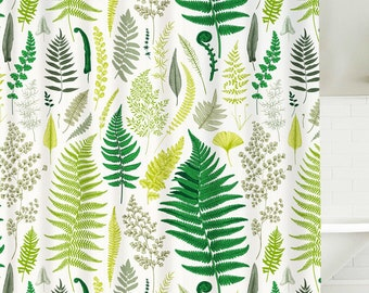 Botanical Shower Curtain Leaves Plant Curtains