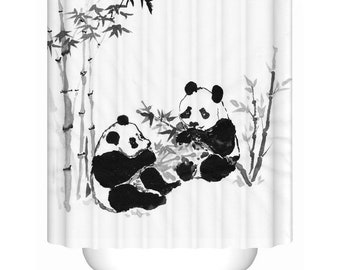 Panda Shower Curtain Bathroom Curtains