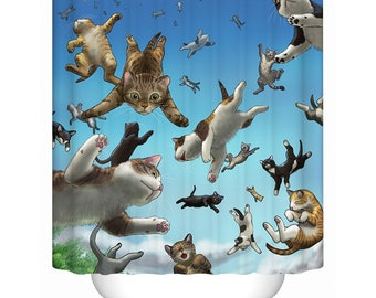 Cats Shower Curtain Funny Cat Curtains Custom Cartoon Pattern