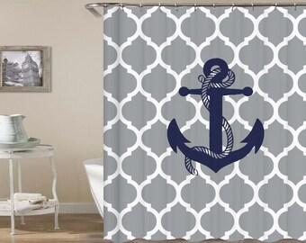 Anchor Shower Curtain Nautical Curtains Gray White Blue