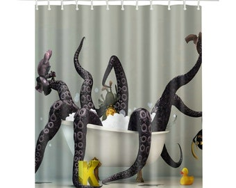 Funky Octopus Shower Curtain Waterproof High Quality Polyester For Bathroom