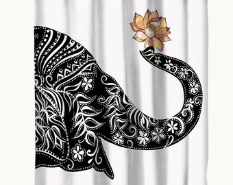 Elephant Shower Curtain Black And White Printed Bathroom Indian Mandala Boho Lotus Decor