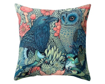 "Cushion Cover in Scion Barnie Barn Owl Blue Green Yellow 14/"" 16/"" 18/"" 20/"""