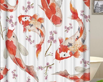 Koi Fish Shower Curtain Bathroom Polyester Fabric Waterproof Japanese Gold