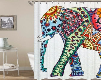 Elephant Shower Curtain Boho Curtains Indian Waterproof Fabric Bathroom With Hooks
