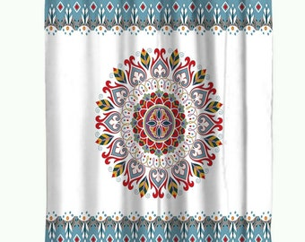 Mandala Shower Curtain Boho Curtains Waterproof Polyester Fabric