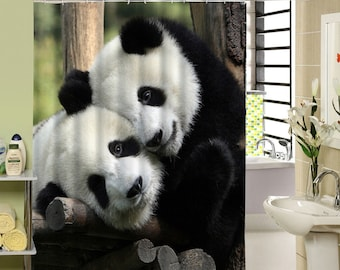 Panda Shower Curtain Waterproof Mildewproof Animal Pattern For Bath Decor