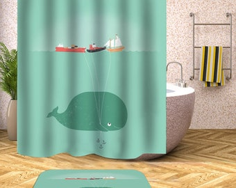 Whale Shower Curtain Mat Ocean Green Bathroom Waterproof Polyester