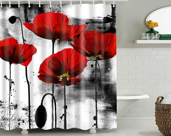 Poppy Flower Shower Curtain Beautiful Red Art Curtains Polyester Eco Friendly High Quality Fabric