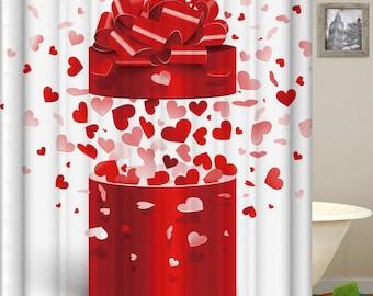 Heart Shower Curtain Hearts Bathroom Love Gift Decor
