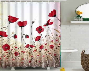 Poppy Shower Curtain Red Flower Curtains Waterproof Polyester Fabric Poppies Bathroom Decor